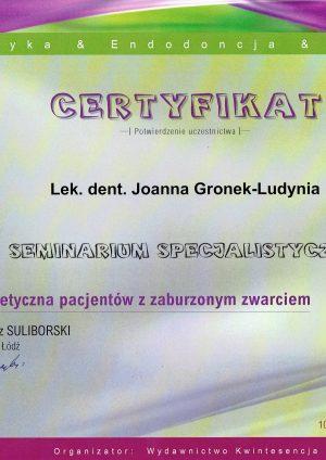 joanna-gronek-ludynia-dentysta-opole-certyfiakt-najnowszy