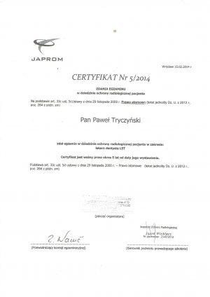 pawel-tryczynski-cerytyfikat-ochrona-radiologiczna-pacjenta